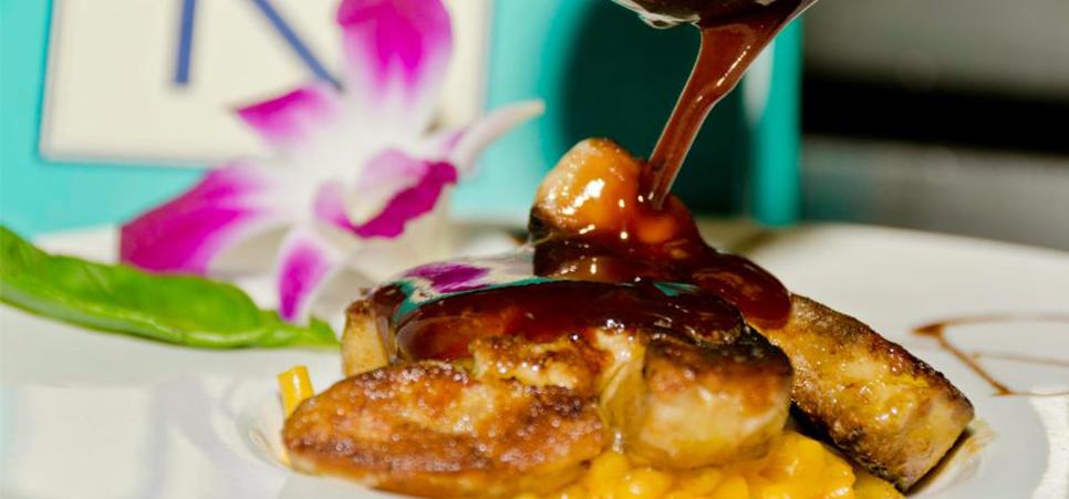Vrai Kraft Dinner au foie gras de canard, sauce au porto